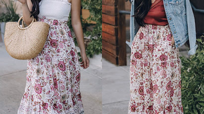 How to wear a floral midi skirt